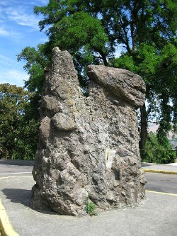 Oddly shaped rock used by missionaries to preach the gospel near The Dalles OR. Photo: KGilb.