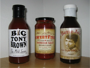 Three great BBQ sauces from the Pacific NW. Photo: KGilb.